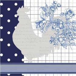 Serwetki do decoupage 33x33cm KITCHEN ROOSTER BLUE